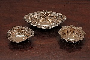 Three English Sterling Silver Sweets Dishes, Larger London, Sutherland & Roden, 1927
