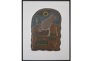 Trevor Nickolls (1949-2012, Ngarrindjeri language group), Bird 1987, Screenprint