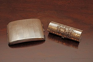 Two Antique Silver Plate Cigarette Cases, England and Denmark