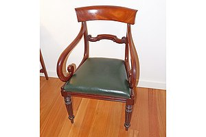 Set of Eight Regency Mahogany Dining Chairs with Reeded Legs, Early 19th Century