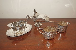 Collection of Silver Plate, Including Victorian Sugar Scuttle with Sterling Silver Spoon