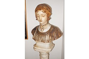 Antique Italian Pre-Raphaelite Style Carved and Stained Alabaster Bust of a Beauty, Signed