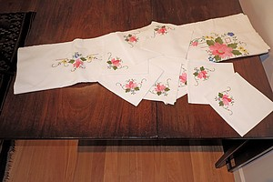 Collection of Vintage Emboidered Linen