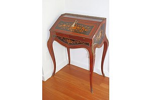 French Louis XV Marquetry Inlaid and Ormolu Mounted Walnut Bombe Shaped Bonheur-Du-Jour, 20th Century