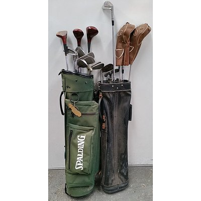 Assorted Golf Clubs And Two Golf Bags