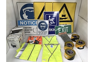 Large Lot of Assorted Protective and Safety Gear, Safety and Warning Signs