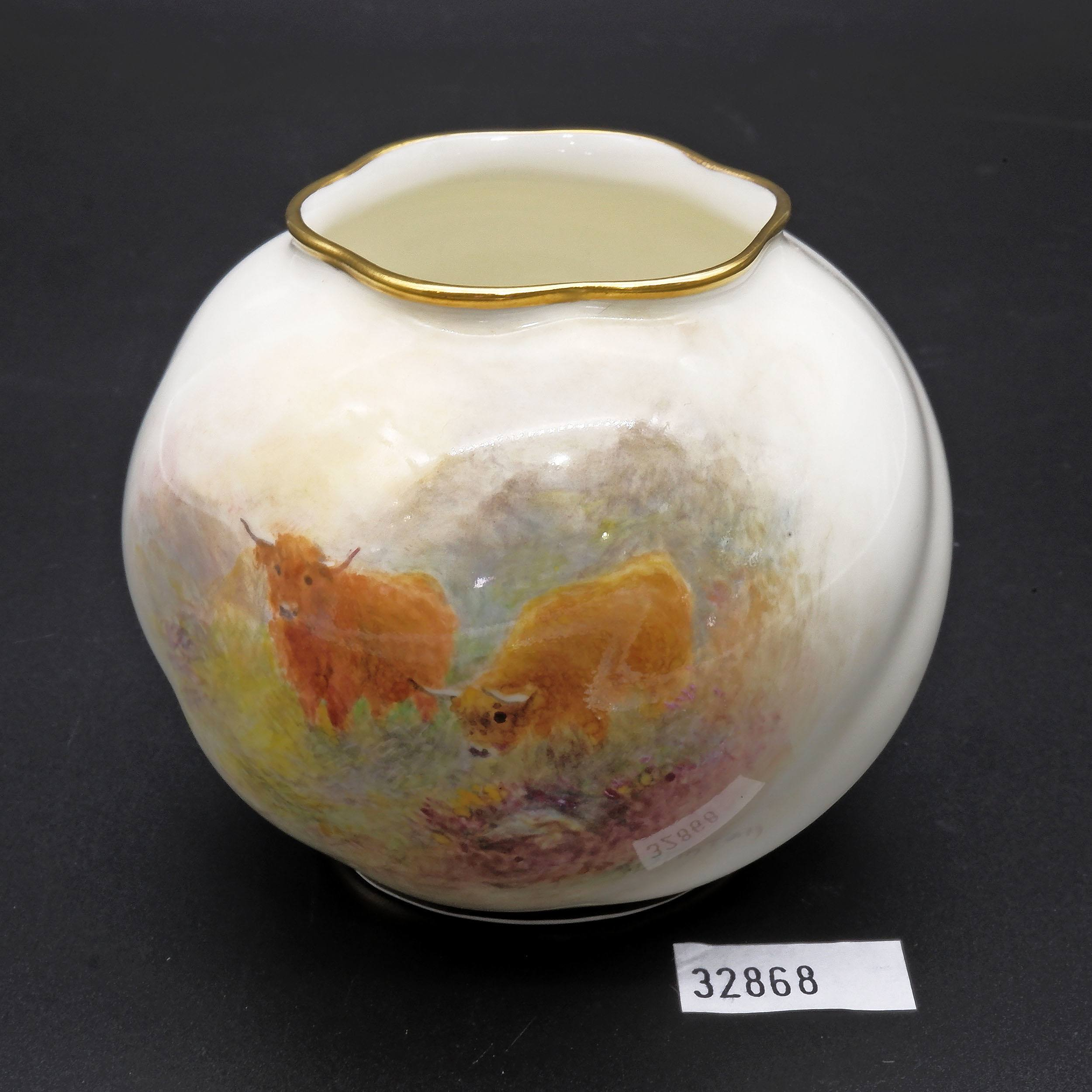 'Royal Worcester Hand Painted Highland Cattle Small Squat Vase Signed by Stinton'