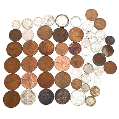 Group of Assorted Australian Pre Decimal Coins