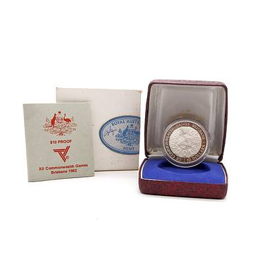 RAM 1982 Commonwealth Games $10 Silver Proof Coin in Original Case