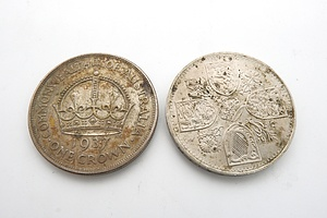 1937 Australian Crown and a British Five Shilling