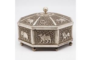 Indian or Ceylonese Silver Hexagonal Pandan Box