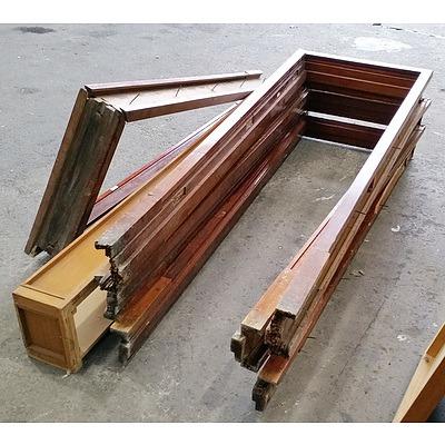 Four Hardwood Window Frames and Hardwood Shelf