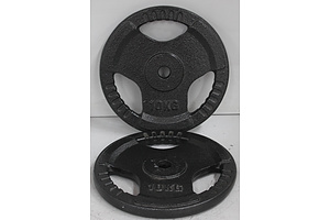 Trigrip 10kg Barbell Weight Plates - Lot of Two