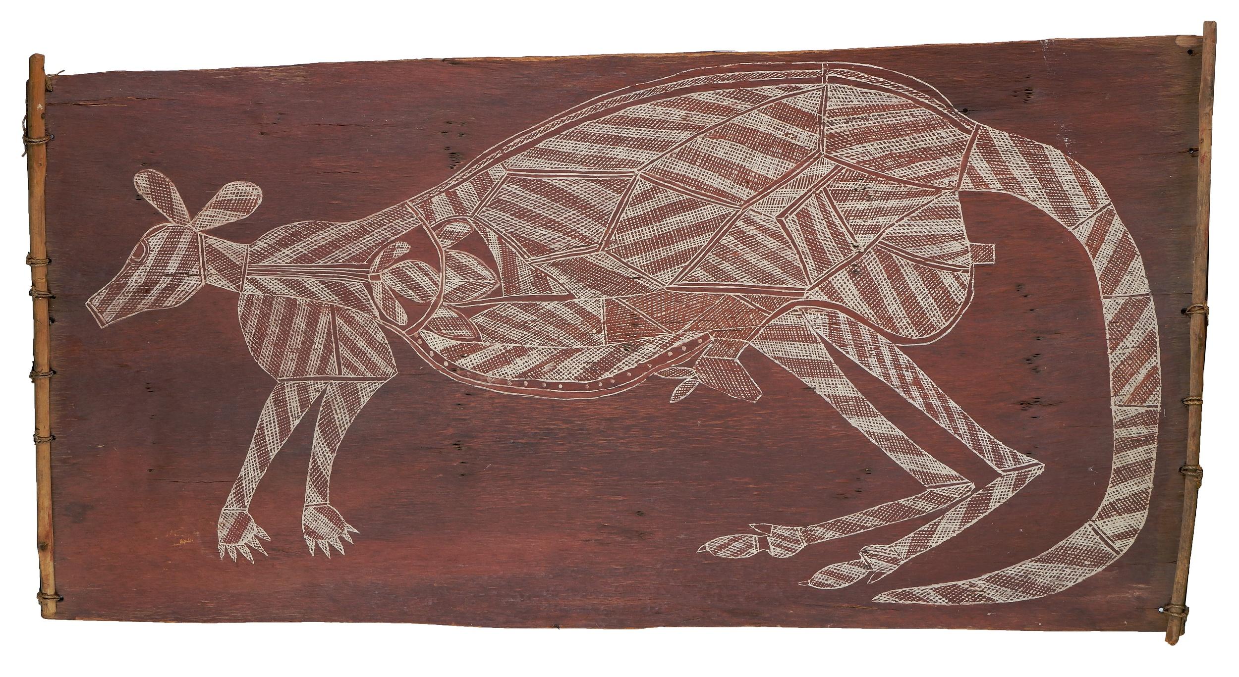 'Bobby Barrdjaray Nganjmira (1915-1992, Kunwinjku language group), Kangaroo, Natural Earth Pigments on Eucalyptus Bark, 102 x 51 cm'