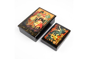 Two Vintage Russian Hand Decorated and Lacquered Trinket Boxes, Both Signed, Probably Palekh