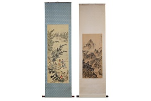 Two Chinese Scroll Ink Drawings on Silk (2)