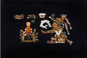 Enamel Mayan Icons Mounted on Board