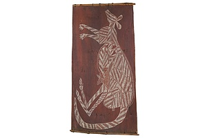 Bobby Barrdjaray Nganjmirra (1915-1992, Kunwinjku language group), Kangaroo, Natural Earth Pigments on Eucalyptus Bark, 102 x 51 cm