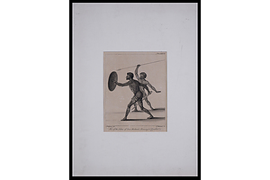 Two of the Natives of New Holland, Advancing to Combat, Engraving