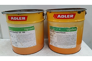 18 Litre Drums of Adler Lignovit Interior UV 100 Natural Timber Coating and Protect Finish - Lot of Two - New