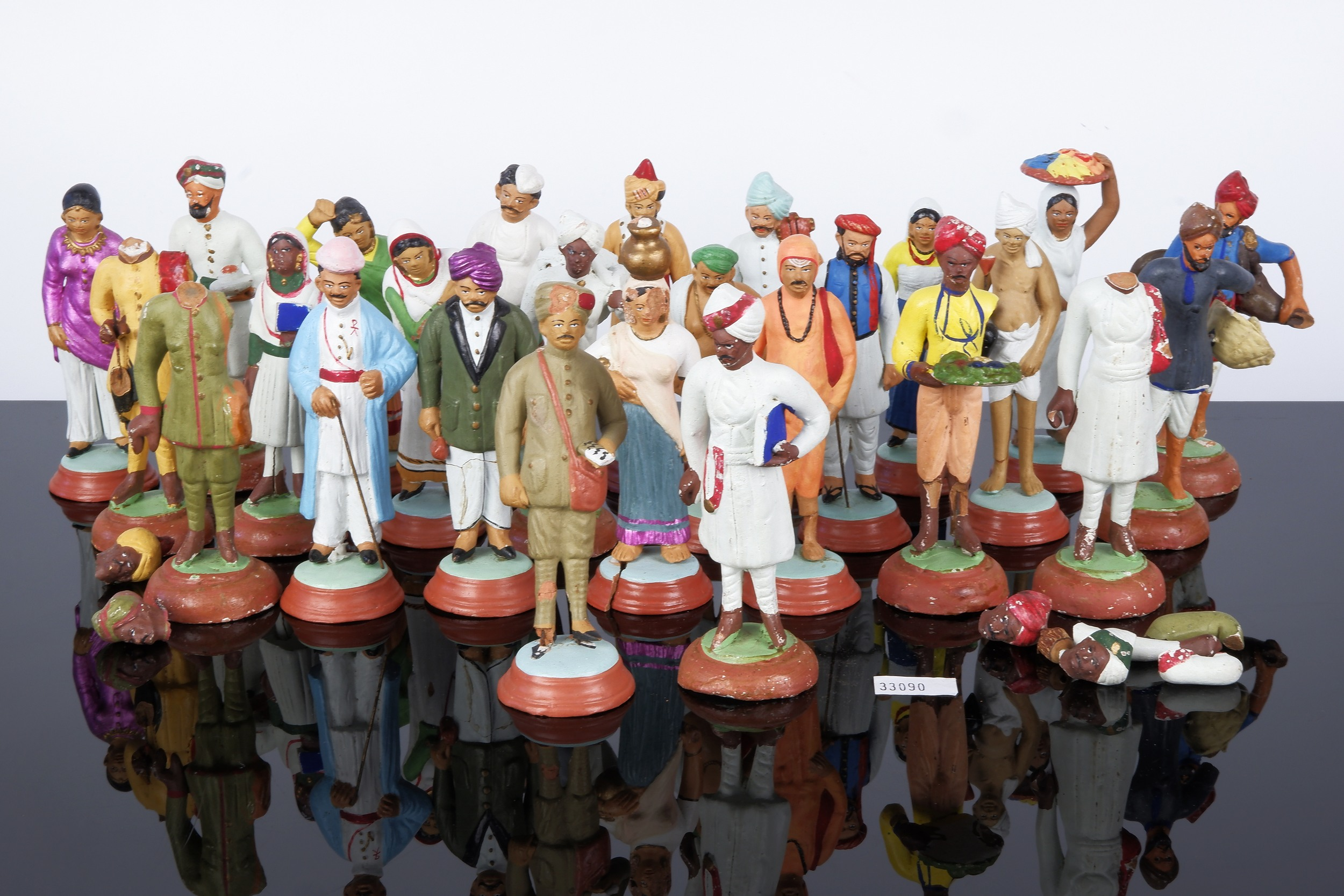 'Unusual Collection of Antique Indian Polychrome Painted Toy Figures'