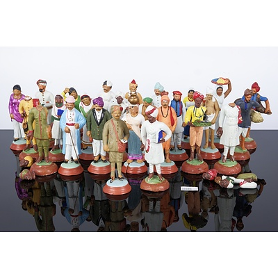 Unusual Collection of Antique Indian Polychrome Painted Toy Figures