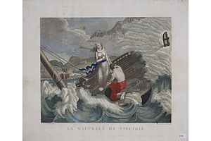 After Girardet, Le Naufrage De Virginie, Aquatint Engraved by F Bellavitis, Circa 1800