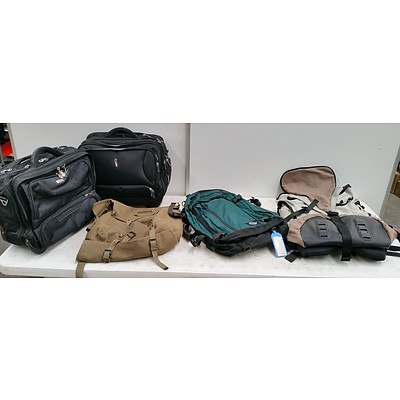 Large Lot Of Assorted Laptop bags And Wheeled Suitcases