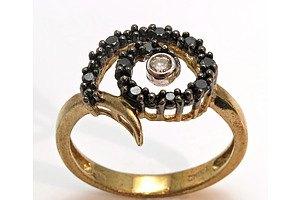 9ct Gold Black & White Diamond Ring