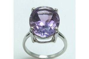 Sterling Silver Ring- Set With Natural Amethyst
