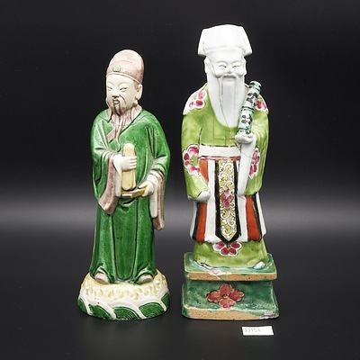 Two 18th Chinese Famille Verte Glazed Biscuit Porcelain Models of Daoist Immortals