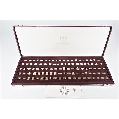 The Hundred Greatest Olympic Stamps in Gold Covered Silver in Presentation Box by Franklin Mint