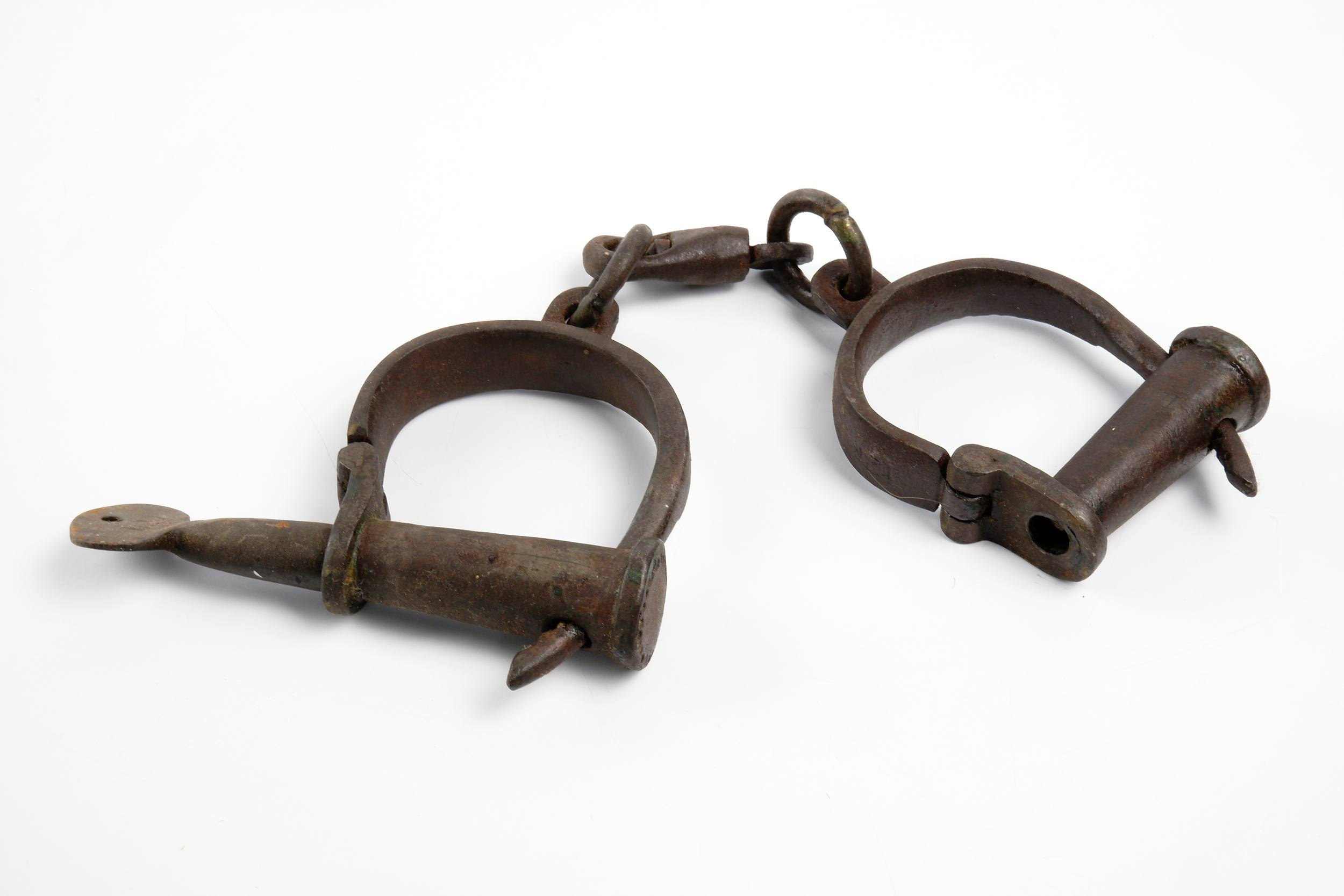 'Antique Hand Forged Handcuffs, Mid to Late 19th Century'