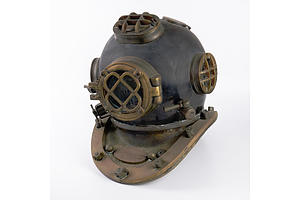 Antique Style Brass and Copper US Navy Diving Helmet Made by Morse Diving Equipment, Reproduction