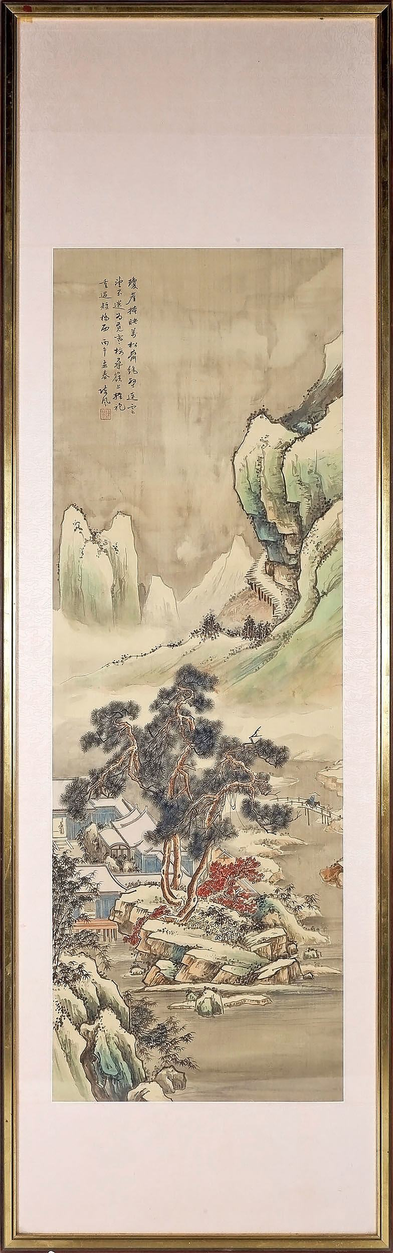 'Chinese Landscape Painting, Ink and Colour on Silk'