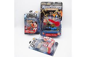 Three Action Figures including Figz Wonder Woman x2 and Transformers Energon