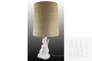 Vintage Porcelain Lamp of a Japanese Lady Leaning Against a Tree - With Vintage Shade