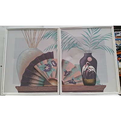 Stretched Canvas Mixed Media Prints - Lot of Two