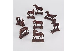 Eight Vintage Miniature Carved Wooden Horse Figurines