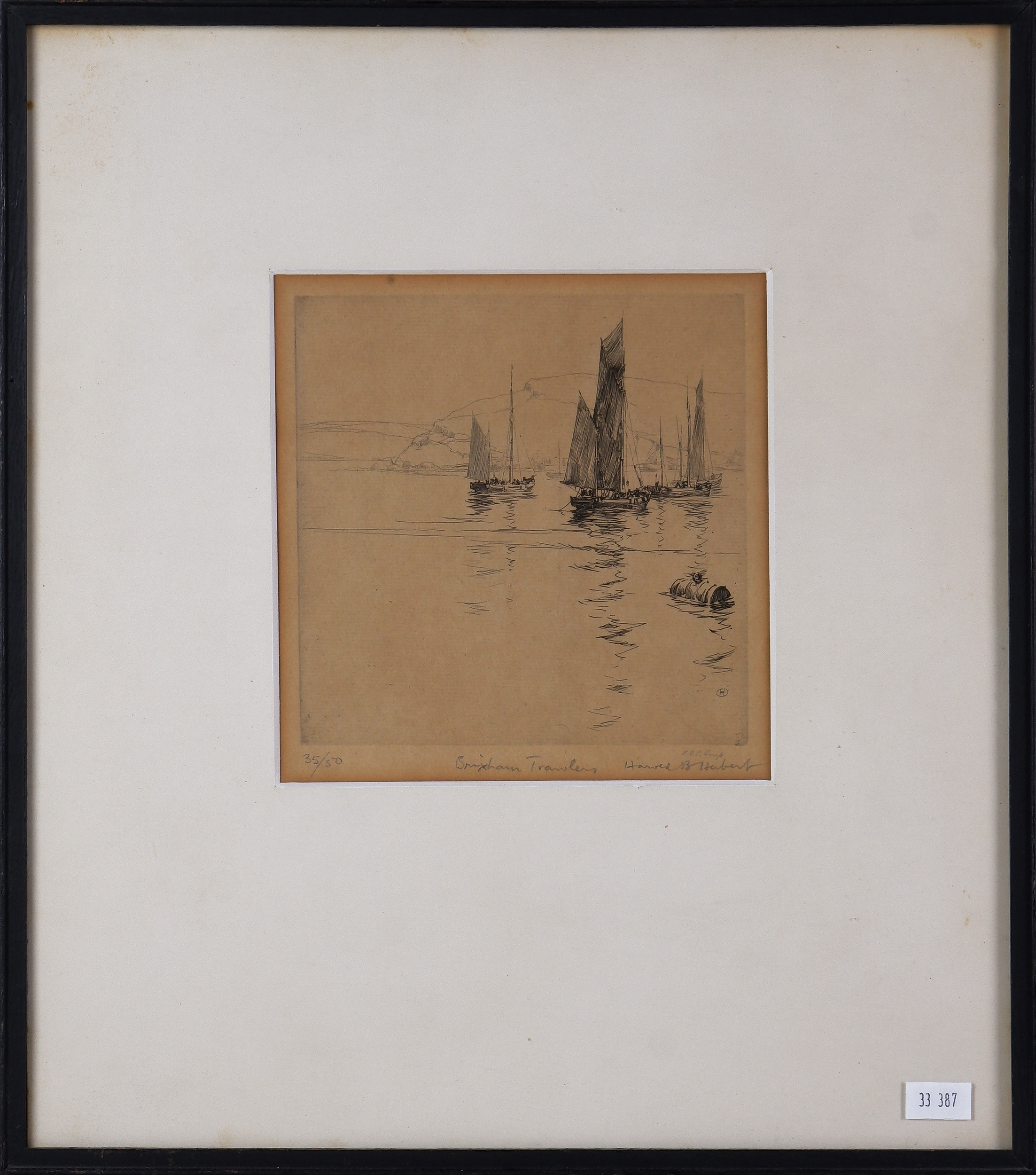 'Harold Herbert (1892-1945), Brixham Trawlers, Etching'