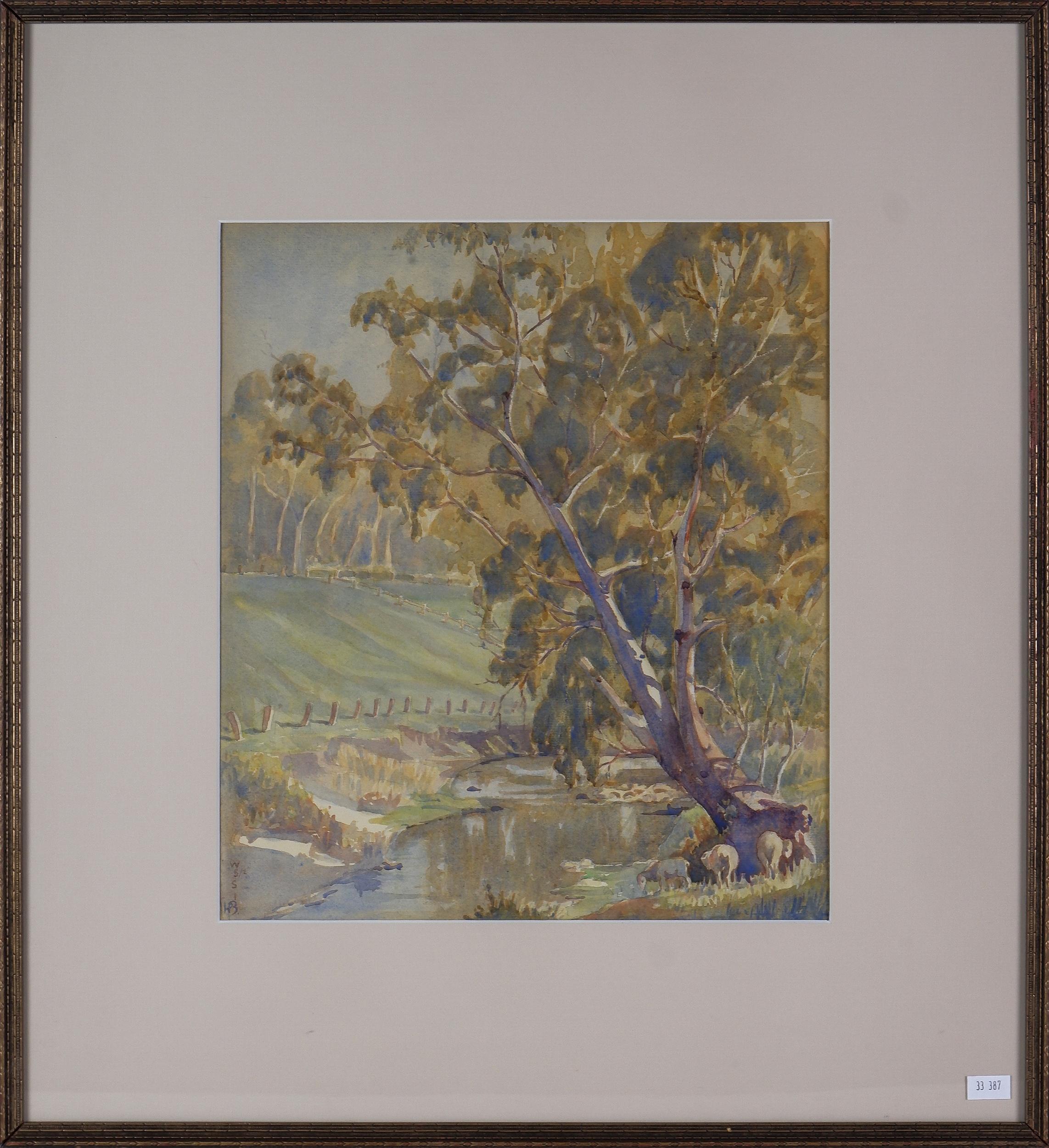 'Herbert Barringer (1886-1946), South Australian Landscape, Watercolour on Paper'