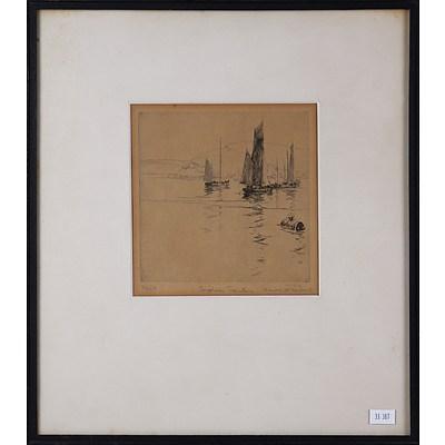 Harold Herbert (1892-1945), Brixham Trawlers, Etching