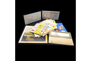 Sydney Cove Collection Booklet, Test Cricket 1977 Centenary First Day Cover and Medallion and Americas Cup Stamp Booklet