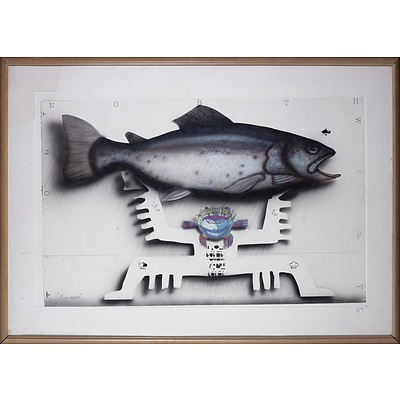 Graeme Townsend (born 1954), Fish Grasp 2013, Mixed Media on Paper