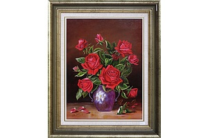 F. M. Johnson, Still Life of Roses, Oil on Canvasboard, 40 x 30 cm