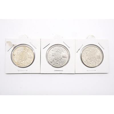 Three Australian 1966 Silver Fifty Cent Coins