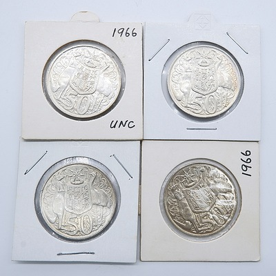 Four Australian 1966 Silver Fifty Cent Coins