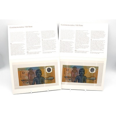 Two Consecutively Numbered 1988 Australian Bicentennial Commemorative $10 Note, AA03089429 and AA03089430
