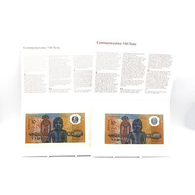 Two 1988 Australian Bicentennial Commemorative $10 Note, AA16069218 and AA03089417