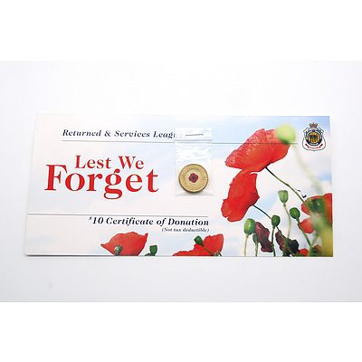 2012 Red Poppy Unciruclated $2 Australian Coin on Card